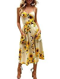 KUONOU Vestito Estivo da Donna Scollo V Elegante Chiffon Abito da spiaggia  Casual Senza Maniche Mini Abiti Prendisole per le donne… 477dfba8ad7