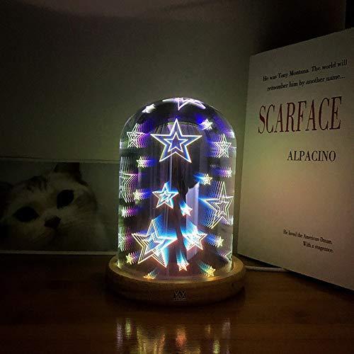 GHC LED Lights, Feux d'artifice Star Meteor Coeur 3D Magique Veilleuse USB Atmosphère Innovante Fée Éclairage Verre + Lampe De Table En Bois Romantique LED