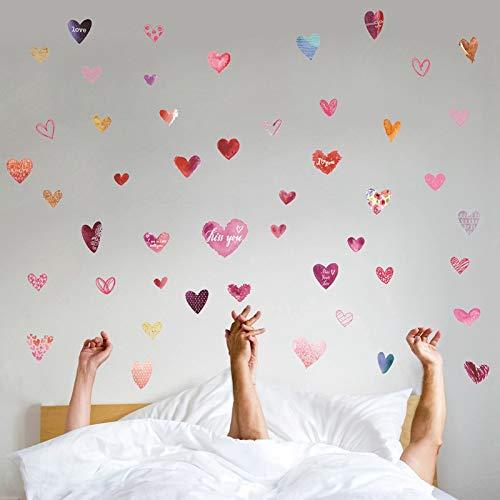 Bdecoll 48 Pegatinas de San Valentín,Pegatinas en forma de corazón,Etiquetas románticas de la pared,pegatina vinilo corazón romántico del amor para dormitorio