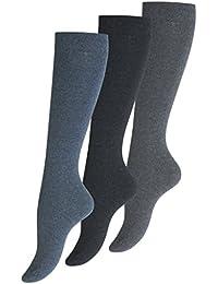 3 Paar original VCA, Damen Baumwoll Kniestrümpfe, ohne Gummibund in Jeansblau Uni