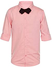 Life by Shoppers Stop Boys Collared Solid Shirt with Bow Tie