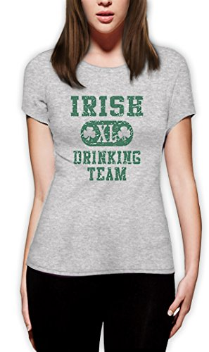 Irish Drinking TEAM high Quality very comfortable Frauen Grau X-Large T-Shirt (Von T-shirt Green Das Team Trinken)
