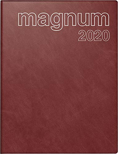 rido/idé 702704229 Buchkalender magnum (2 Seiten = 1 Woche, 183 x 240 mm, Schaumfolien-Einband Catana, Kalendarium 2020) weinrot