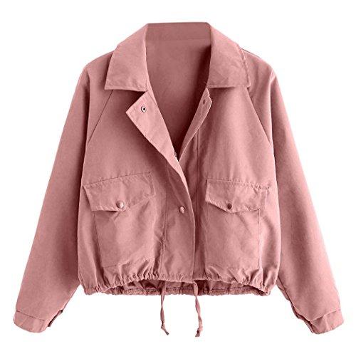 MCYs Damen Mode Langarm kurze Knopf Mantel Pocket Jacke Strickjacke Skin Suits mit Kapuze Reißverschluss Taschen Sport Mantel Bluse Jacke...