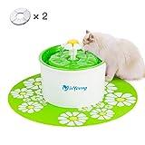isYoung 1.6L Fontaine à Eau Fontaine de Chat et 2 Filtres Boire à Fleur Électrique Animaux Vert Pet Water Fountain Drinking Bowl