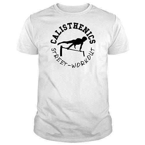 IDEAMAGLIETTA CAL0006U Maglietta Uomo Calisthenics Street Workout t-Shirt Allenamento Sport (L, Bianco)