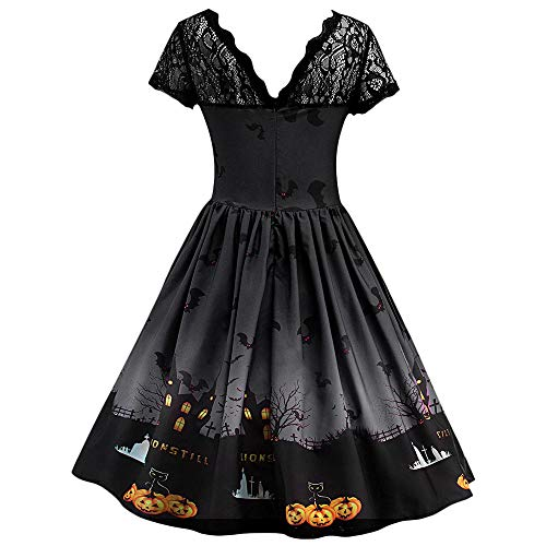 Orchgas Damen Vintage Halloween Kostüm Cosplay Make Up Party Kleid Kostüm Festlich Mini Cocktailkleid Abendkleid Sommerkleider Spitzenkleid Frauen Verein Partykleid
