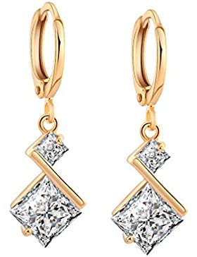 YAZILIND 18K Elegantes Vergoldet Zirkonia Inlay mit Charme Hoop Ohrringe für Frauen Geschenk Überzogen