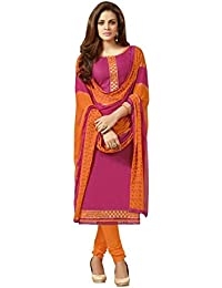 Radhey ArtsNew Designer Pink And Orange Jecard Dress Material With Matching Dupatta