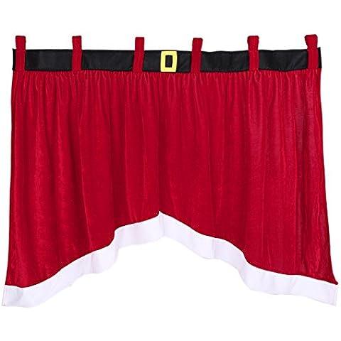 Natale Decorazione Tenda, irregolare creative e confortevole finestra, colore: rosso e bianco