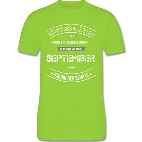 Shirtracer Geburtstag - Echte Kerle Werden IM September Geboren - Herren T-Shirt Rundhals Hellgrün