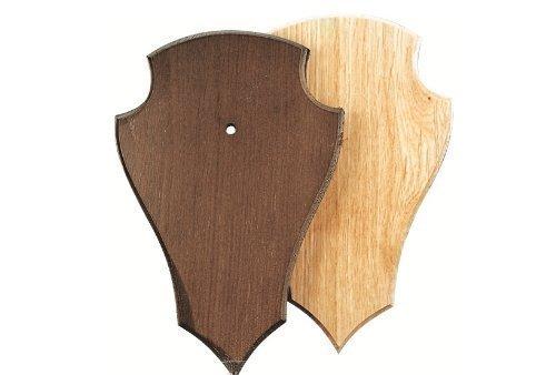 Gehörnbrett für Rehwild 19x12cm spitz mit Ausfräsung - dunkel
