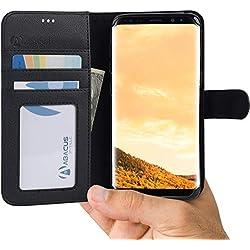 Abacus24-7 Etui Galaxy S8 Galaxy Coque à Rabat en Cuir [Noir] Coque Clapet Samsung s8 [RFID] Housse de Protection pour GalaxyS8 Portefeuille Mince pour S8 téléphone Portable