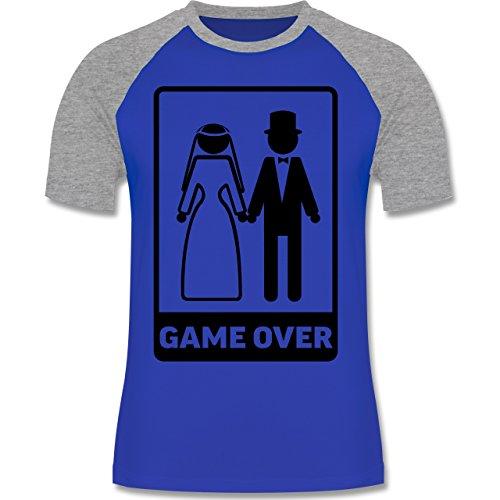 JGA Junggesellenabschied - Game Over - zweifarbiges Baseballshirt für Männer Royalblau/Grau meliert