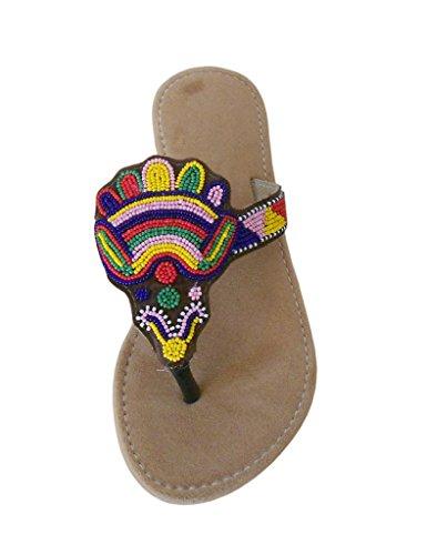 kalra Creations Femme traditionnel indien étui en velours Chaussons Marron