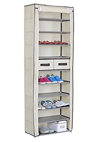 WOLTU® #172-1 Schuhschrank Faltschrank mit Stoffbezug , Stoffschrank Schuhablage Schuhregal Schuhständer , 11 Schicht , 60x29x175cm , Vier Farben