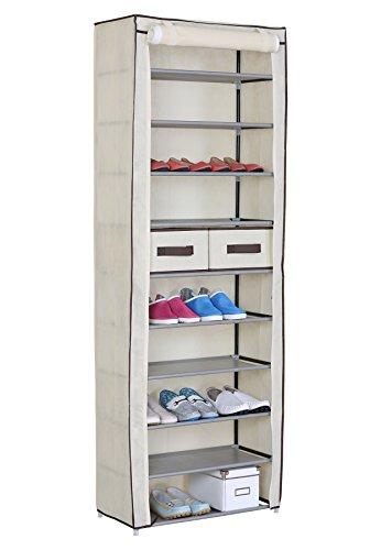 WOLTU-SS5018cm-Meuble--chaussures-pliant-avec-tissuarmoire--chaussures-rack-tissu-de-chaussure-du-placard11-couche-60x29x175cmCrme