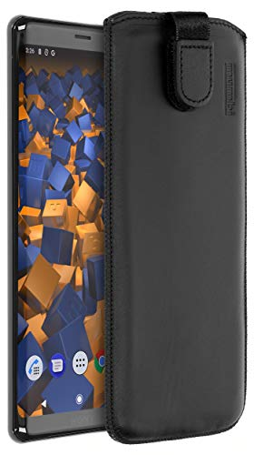 mumbi ECHT Ledertasche für Sony Xperia XZ3 Tasche Leder Etui (Lasche mit Rückzugfunktion Ausziehhilfe)