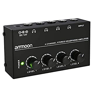 ammoon HA400 Ultra-compact 4 Channels Mini Audio Stereo Headphone Amplifier with Power Adapter