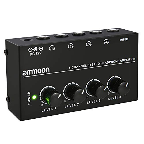 Price comparison product image ammoon HA400 Ultra-compact 4 Channels Mini Audio Stereo Headphone Amplifier with Power Adapter