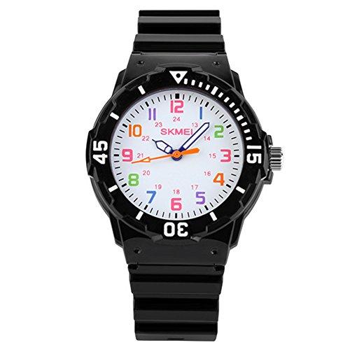 Gosear Wasserdicht Kinder Jungen Mädchen Lässige Sport Quarz Handgelenk Uhr Armbanduhr Geschenk Gegenwart Schwarz