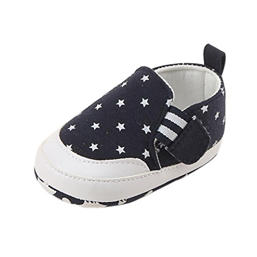 Schuhe für 0-18Monate Baby, squarex Girl Boy Print Crib Shoes Weiche Sohle Anti-Rutsch Sneakers 12-18 Months navy