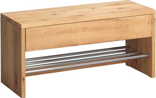 HomeTrends4You 801522 Garderobenbank / Schuhbank / Schuhregal Sigma, Echtholz Wildeiche massiv geölt, Ablage Metall verchromt, mit Schublade, 81x32 cm, Höhe 40cm -