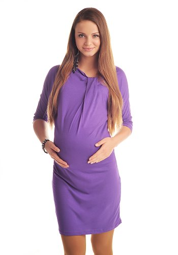 Purpless Maternity Fledermausarmel Kleid Tunika Mutterschaft Kleidung 6407 (44/46 (UK 16/18), Violet) (Tunika-kleid Mutterschaft)