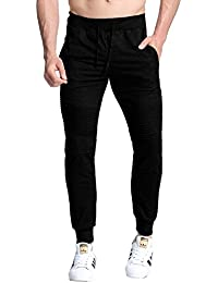 MODCHOK Homme Pantalon Jogging Sarouel Sweat Pants Sport Longue Slim Fit Uni