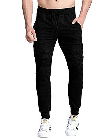 MODCHOK Men's Trousers Casual Sweatpants Sport Cotton Pockets Tracksuit Bottoms Black 2XL