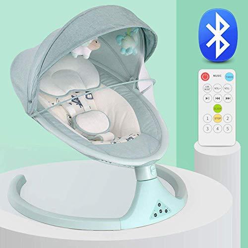 Baby elektrische Rocker Neugeborenen Balance Schaukeln Stuhl 1-3 Jahre Junge Mädchen Schlafkorb Bett Krippe mit Moskito-Fernbedienung Bluetooth Komfort Schaukeln Babybett,Blue