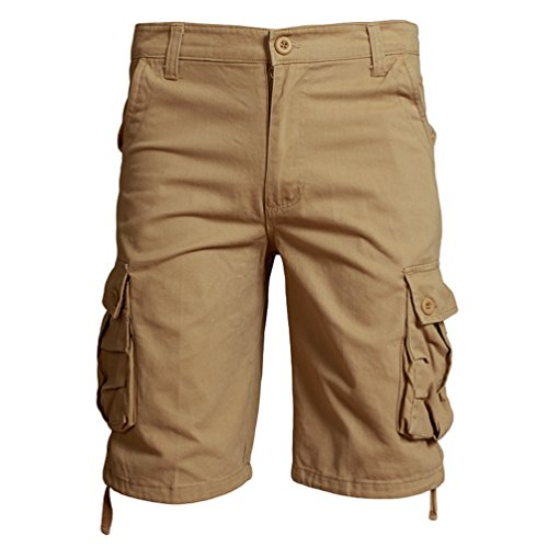 ZhiYuanAN Uomo Estate Cargo Shorts Pantaloncini Cargo Multi-Tasca Di Svago All'Aperto Taglie Grandi Bermuda Shorts Cachi