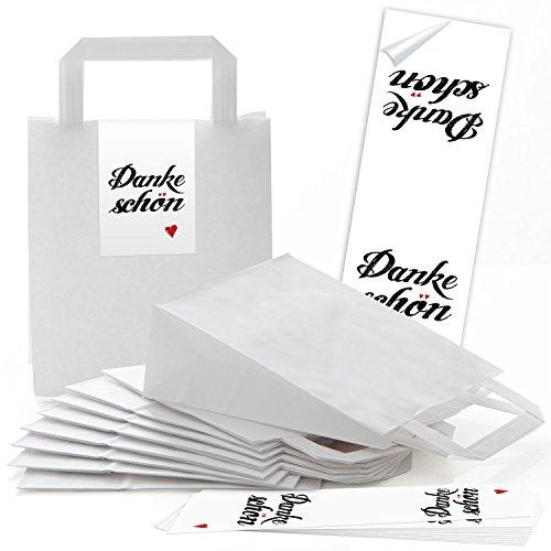 10 weiße Papiertüten Papier-Tragetaschen Henkel-Tüten Boden 18 x 8 x 22 cm kleine Papiertaschen mit Aufkleber Banderole DANKE-SCHÖN Herz rot Verpackung give-away Kunden Hochzeit