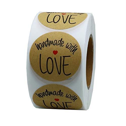 500 STÜCKE Runde natürliche Kraft hausgemachte mit Liebe Aufkleber handgemachtes Geschenk Label Aufkleber