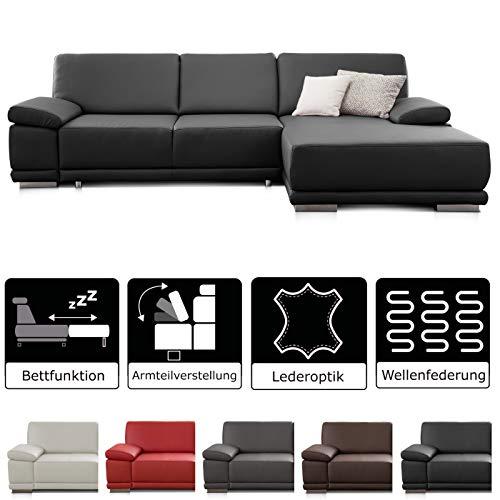 CAVADORE Ecksofa Corianne mit Schlaffunktion /  Schlafcouch im modernen Design / Inkl. beidseitiger Armteilverstellung, Longchair rechts und Bett / 282 x 80 x 162  / Kunstleder schwarz