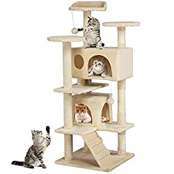 Yaheetech Cat Scratching Post Tower Tree Pet Palace Cat Palace (Beige)