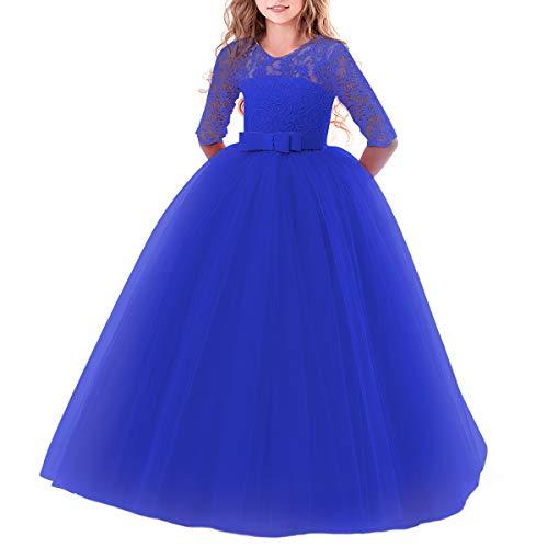 IWEMEK Elegant Brautjungfer Kleider für Mädchen Blumenmädchen Hochzeitskleid 3/4 Arm Spitzenkleid...