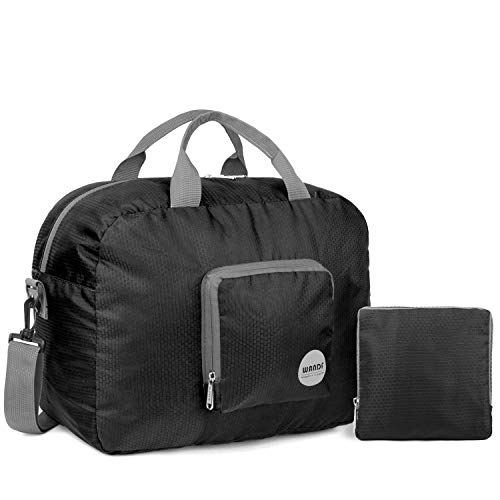 WANDF Foldable Travel Duffel Bag Super Lightweight for Luggage, Sports Gear or Gym Duffle, Water Resistant Nylon (25L Negro)
