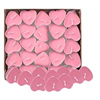 Txyk 50 Pcs Love Heart Shape Tealights Love Candles Bulk Floating Smokeless Scented Romantic Candles Valentines Mothers Day Christmas Wedding Birthday Party Decoration 3.8 * 3.8 * 1cm (Pink)