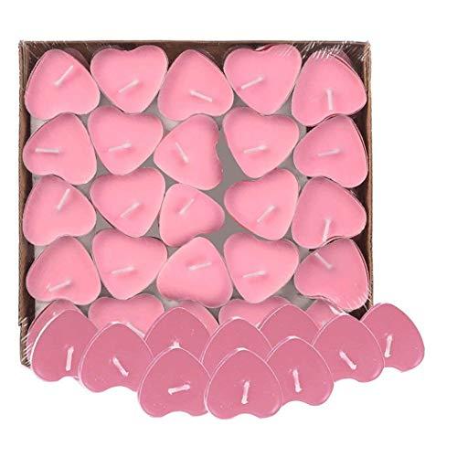 Txyk 50pcs Teelicht Set Romantische Herz Kerzen Rauchfrei Teelicht für Geburtstag, Vorschlag,Hochzeit,Party(Rosa)