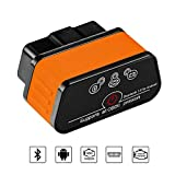 OBD2/OBDII Auto Diagnosegerät, Bluetooth3.0 Code Reader, Auto Diagnose Scanner, OBDII Scanner für Torque Android mit Schnittstelle Adapter Überprüfen Motor Lichter Automatische Abschaltung