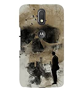 Grey Skull 3D Hard Polycarbonate Designer Back Case Cover for Motorola Moto G4 Plus :: Moto G4+