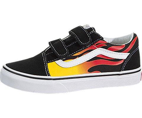 Vans Kids Old Skool V (Flame) Black/Black/TR/Wht Skate Shoe 11 Kids US (Vans Black Kids)