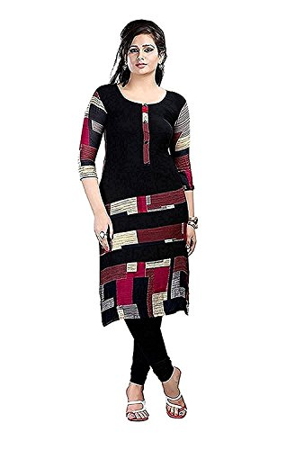 Kbf Women's Cotton & Crush Kurta (Black,X-Large)