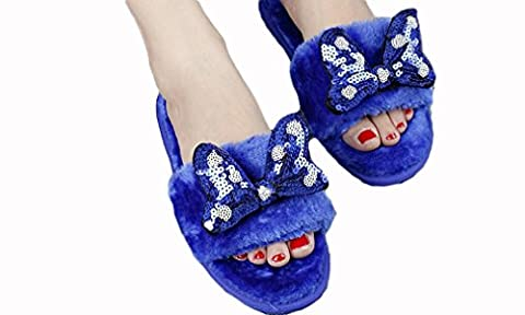 Beauqueen Flip Flop & Thongs Chaussons Sequins Broderie Bow Tie Peluche Famille Femmes Pantoufles , blue sequins embroidery bow plush word drag , 40