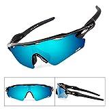 BATFOX Polarisierte Sonnenbrillen Fahrradbrille Radbrille Sportbrille Herren Damen für Radsport Fahrrad Baseball Skifahren Sport Brille mit Wechselobjektiven unzerbrechlichem Rahmen- Weiß & Grau