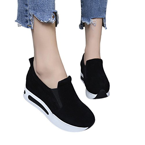 Beikoard stivali nero giardini scarpe da viaggio primaverili da donna slip-on scarpe casual stile flock con suola spessa(nero,38)