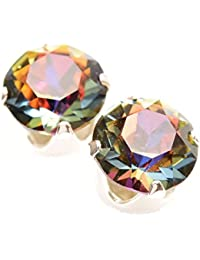 pewterhooter 925 Sterling Silver stud earrings expertly made with multicolour Aurore Boreale crystal from SWAROVSKI® for Women h7EpVo1Km