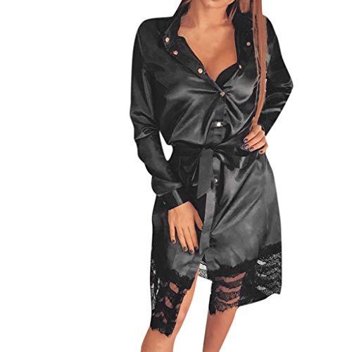 Das Shirt der Frauen Rock Sexy Spitzen Panel Schnürung Kleid Mode lang  Ärmel Revers Knopf V f88d86c9be