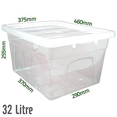 32 L, Kunststoff, Transparent, Robust, Aufbewahrungsboxen / Dosen mit Deckel, Hergestellt Im UK von Elixir - Du und dein Garten